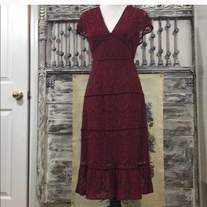 Anthropology Red Lace V Midi Velvet Cocktail Dress